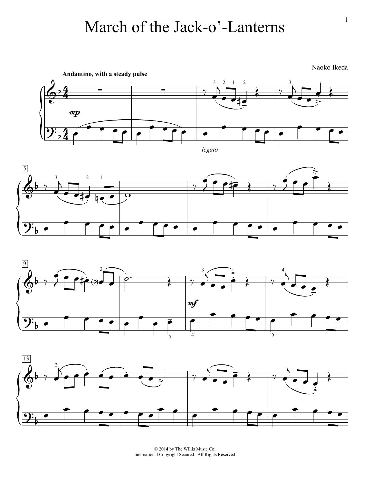 Partition piano March Of The Jack-O'-Lanterns de Naoko Ikeda - Piano Facile