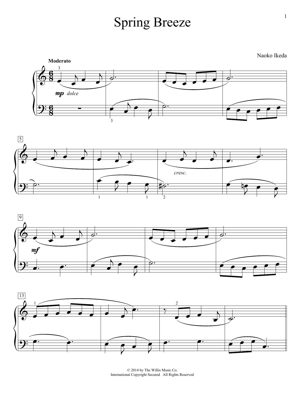 Partition piano Spring Breeze de Naoko Ikeda - Piano Facile