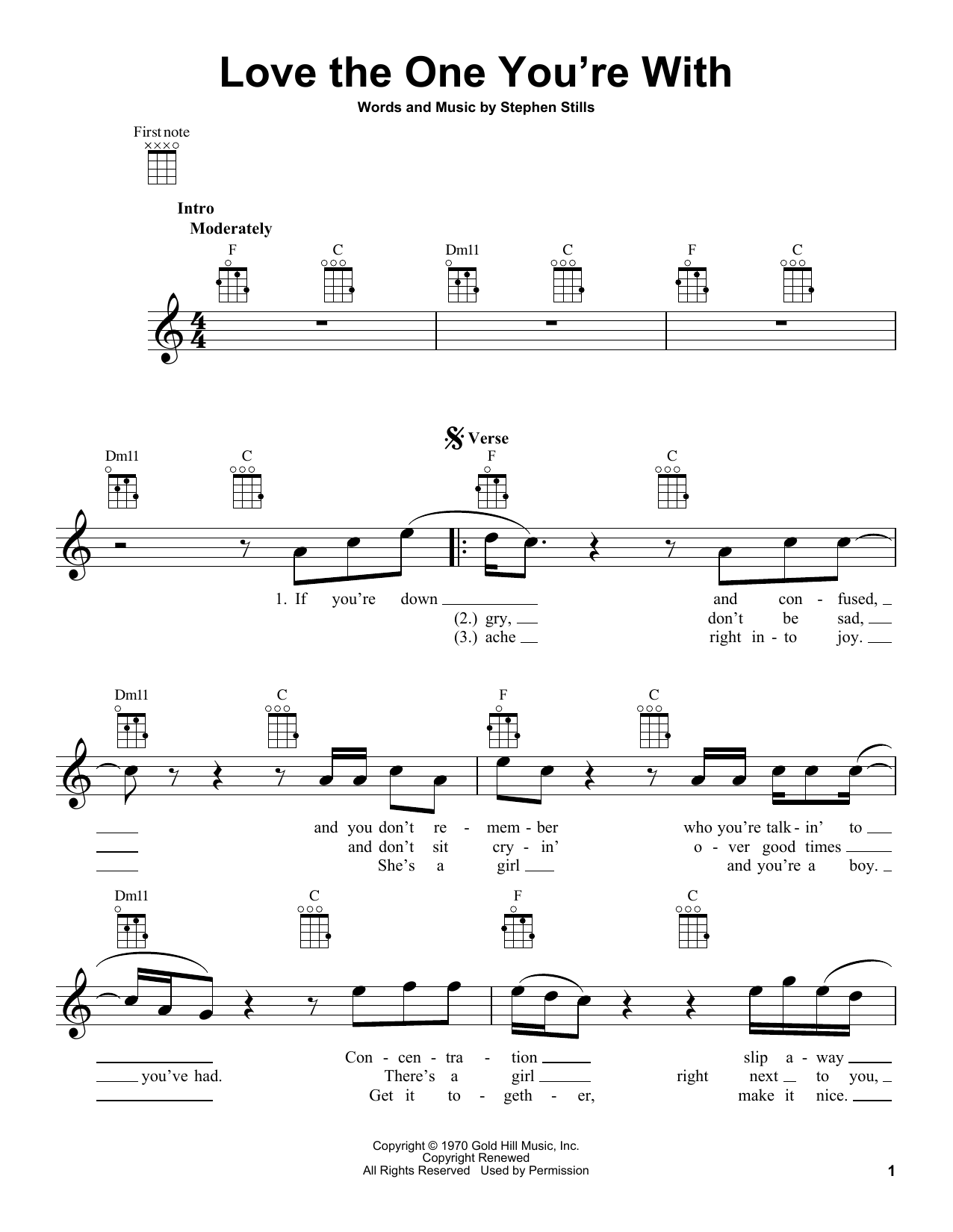 Tablature guitare Love The One You're With de The Isley Brothers - Ukulele