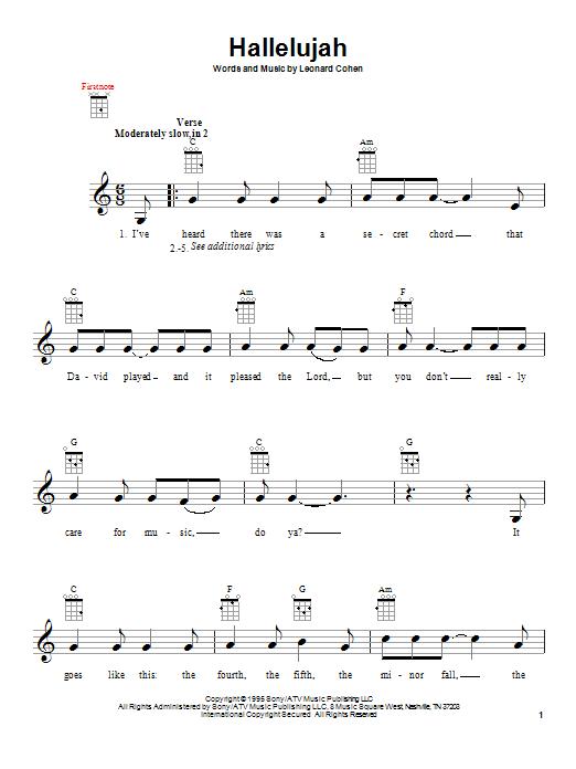 Tablature guitare Hallelujah de Leonard Cohen - Ukulele