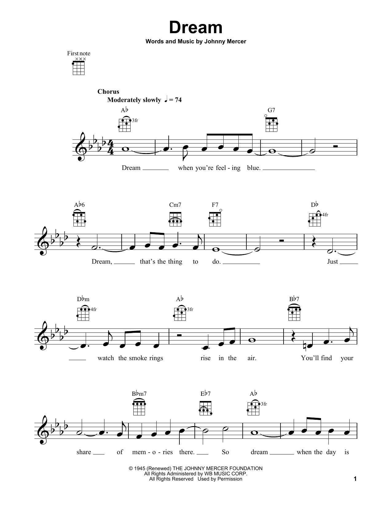 Tablature guitare Dream de Frank Sinatra - Ukulele
