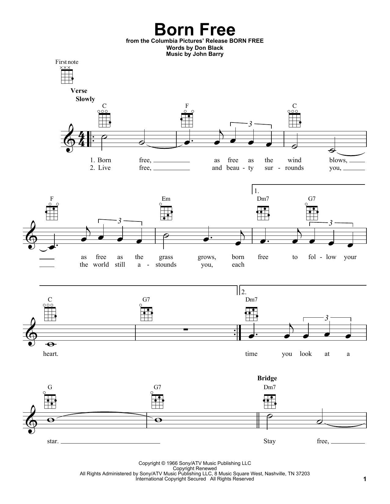 Tablature guitare Born Free de Roger Williams - Ukulele