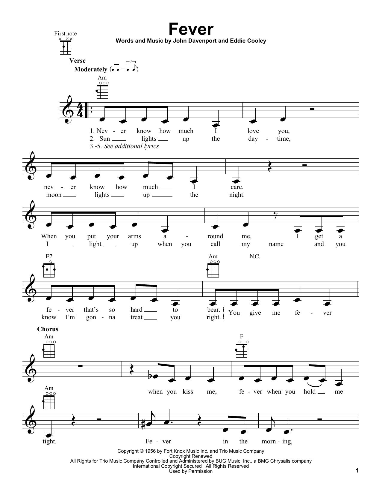 Tablature guitare Fever de Peggy Lee - Ukulele