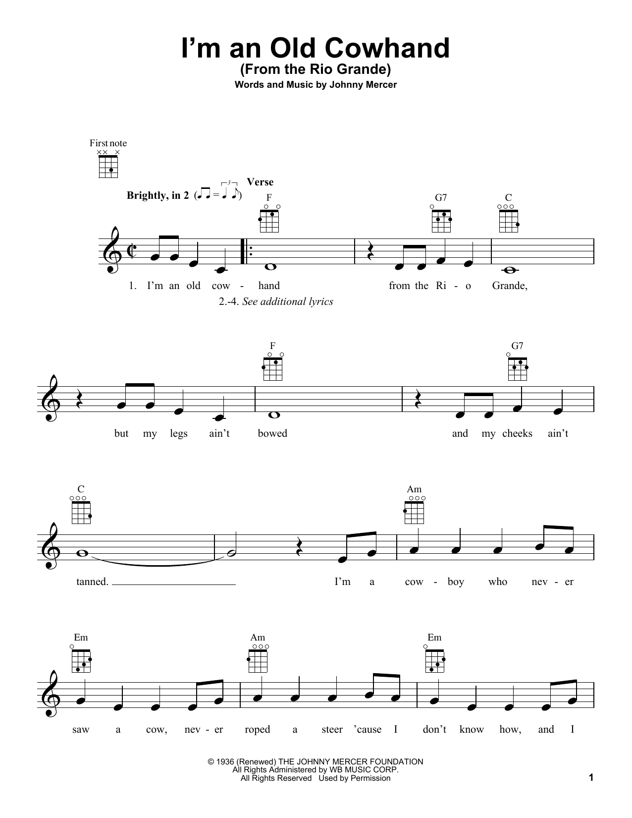 Tablature guitare I'm An Old Cowhand (From The Rio Grande) de Johnny Mercer - Ukulele