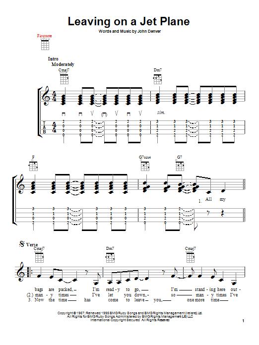 Tablature guitare Leaving On A Jet Plane de John Denver - Ukulele