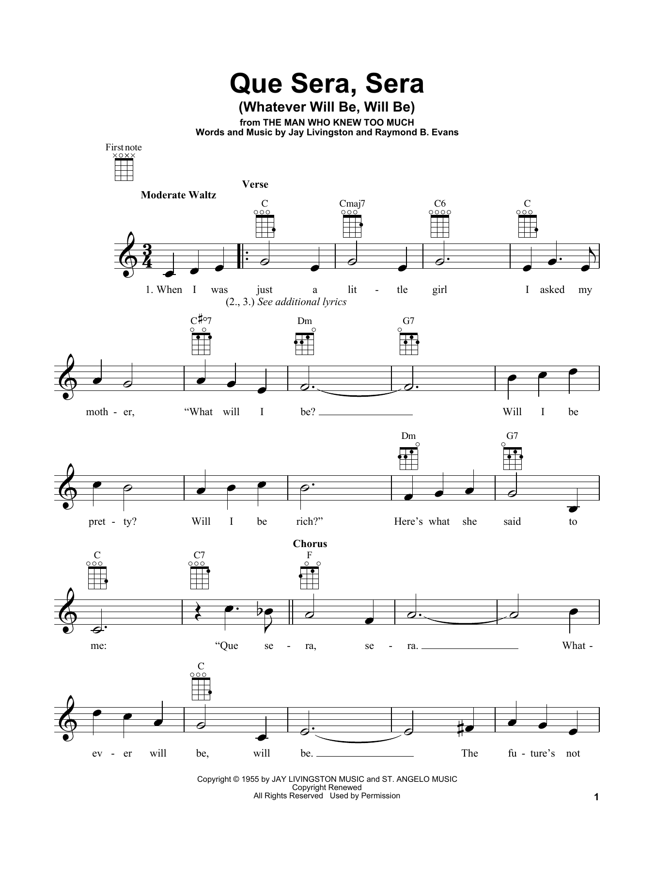 Tablature guitare Que Sera, Sera (Whatever Will Be, Will Be) de Doris Day - Ukulele