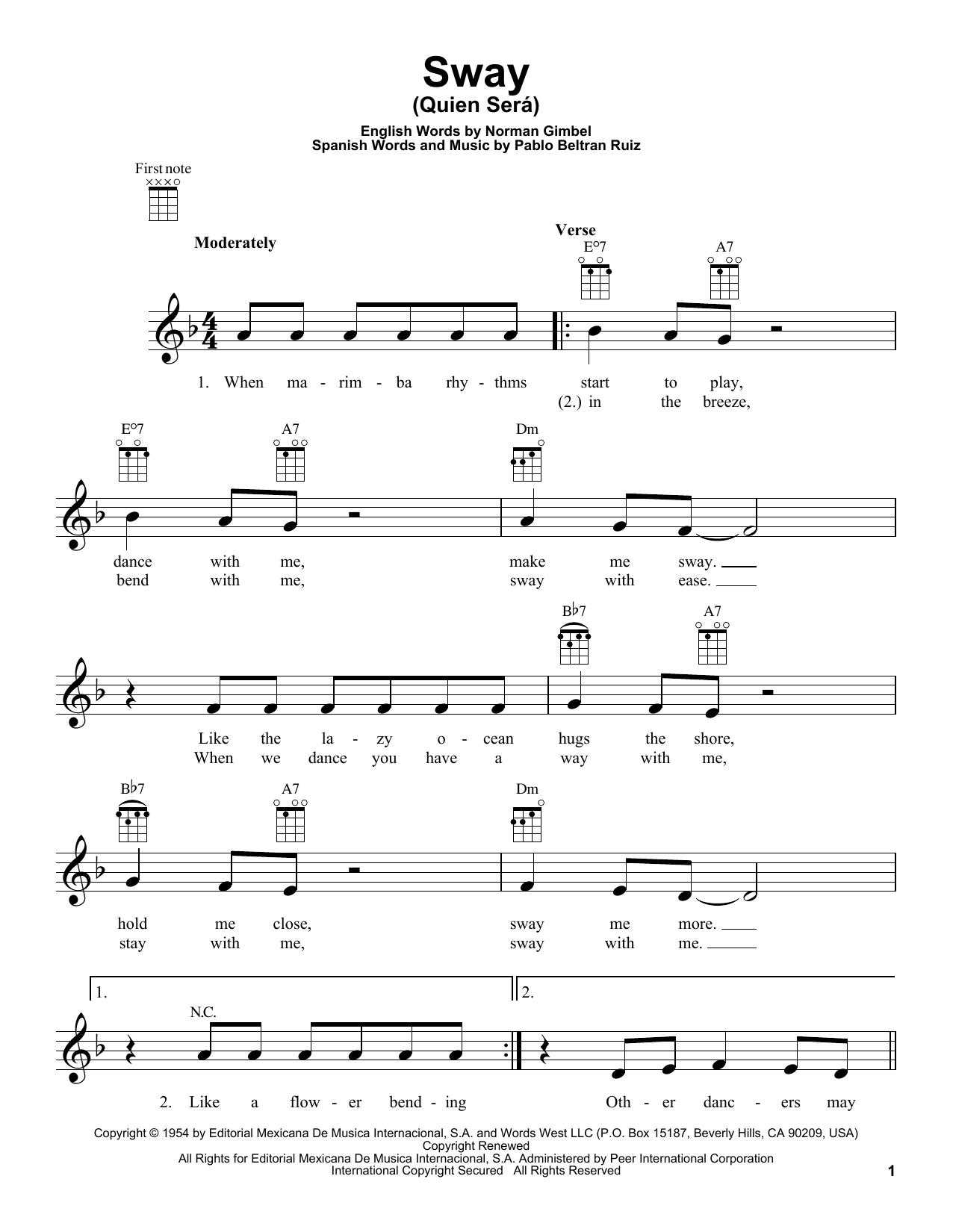 Tablature guitare Sway (Quien Sera) de Dean Martin - Ukulele