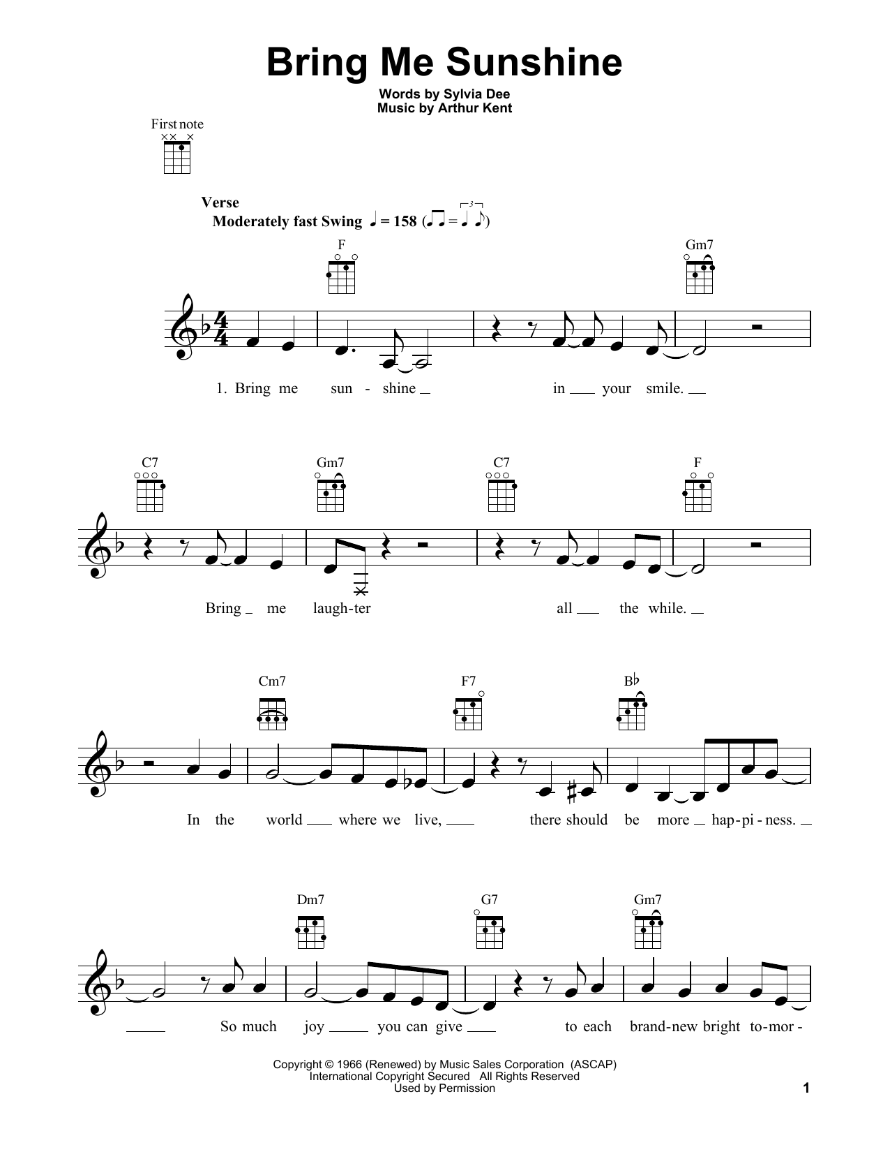 Tablature guitare Bring Me Sunshine de Willie Nelson - Ukulele