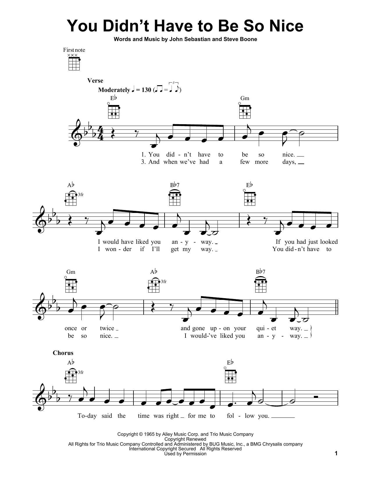 Tablature guitare You Didn't Have To Be So Nice de Lovin' Spoonful - Ukulele