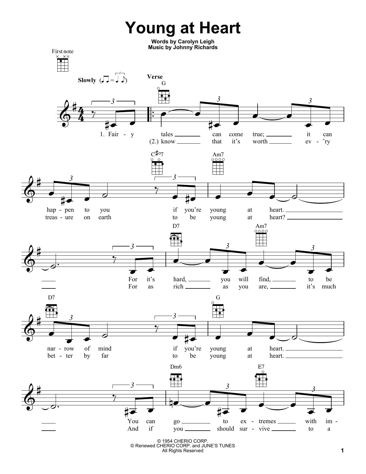 Tablature guitare Young At Heart de Frank Sinatra - Ukulele