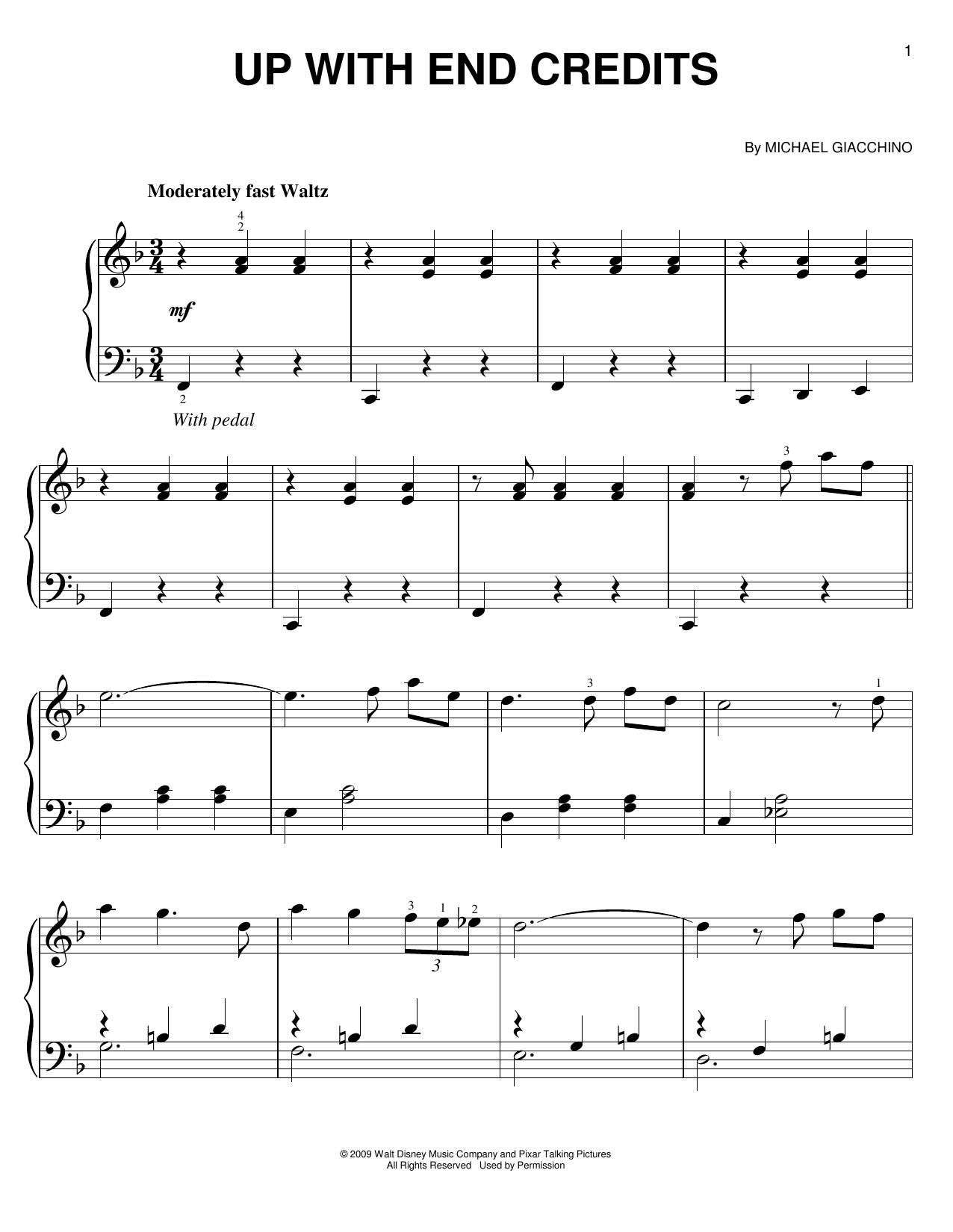 Partition piano Up With End Credits de Michael Giacchino - Piano Facile