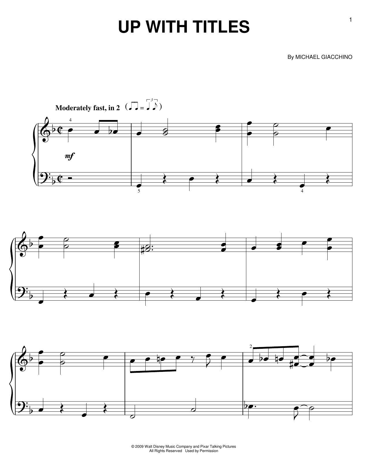 Partition piano Up With Titles de Michael Giacchino - Piano Facile