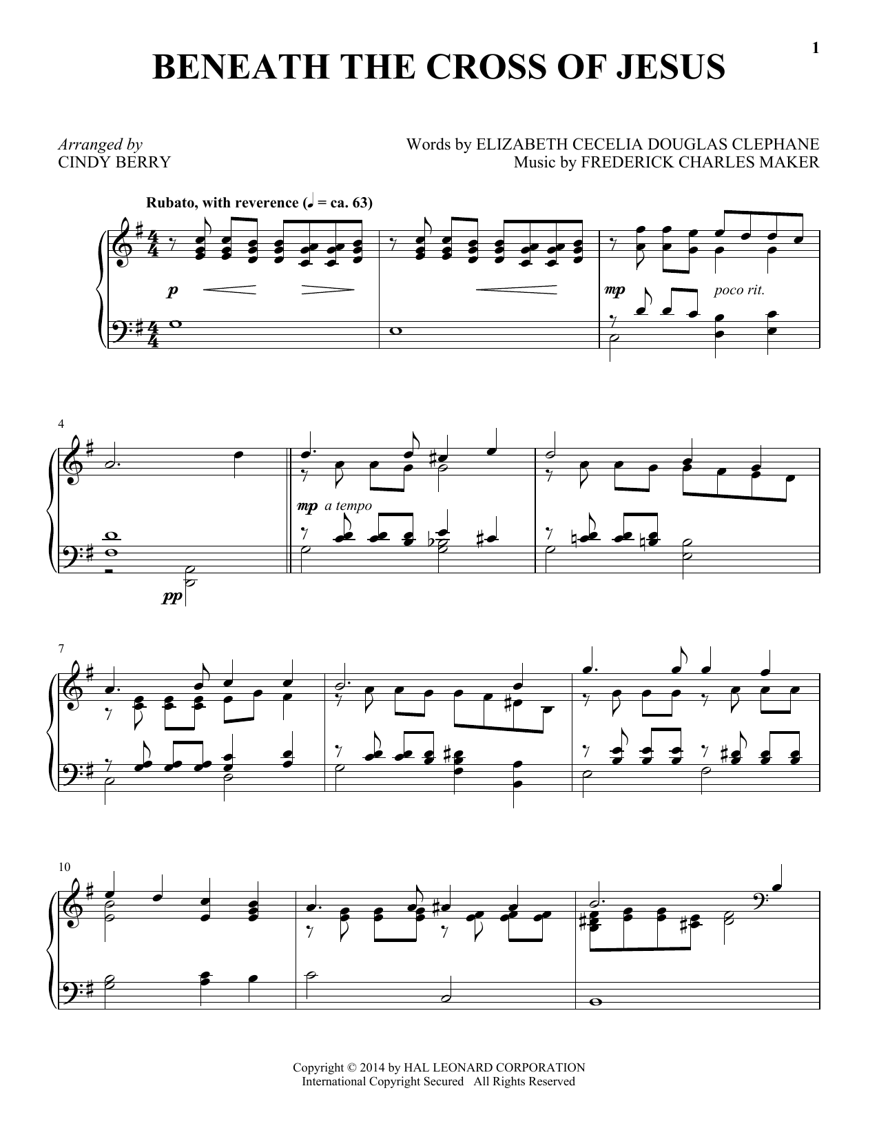 Partition piano Beneath The Cross Of Jesus de Frederick C. Maker - Piano Solo