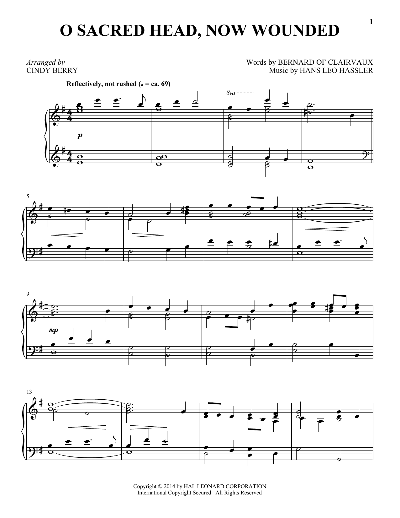 Partition piano O Sacred Head, Now Wounded de Cindy Berry - Piano Solo