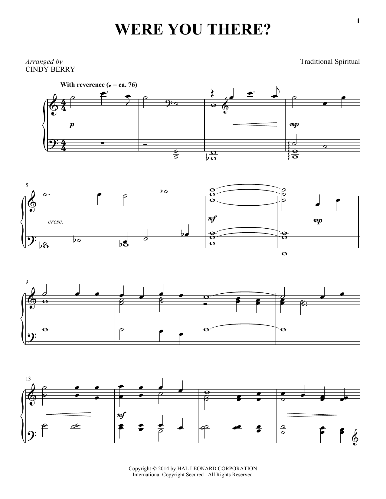Partition piano Were You There? de Cindy Berry - Piano Solo