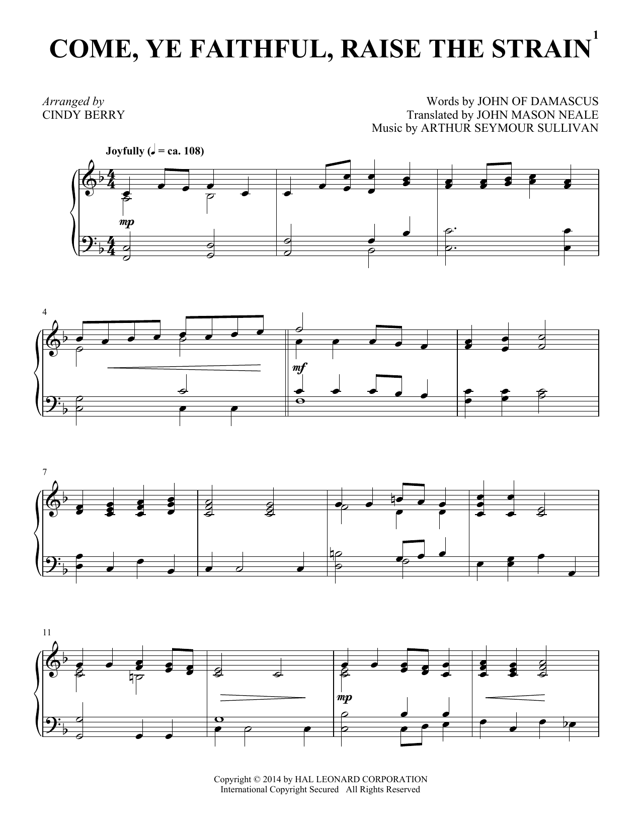 Partition piano Come, Ye Faithful, Raise The Strain de Cindy Berry - Piano Solo