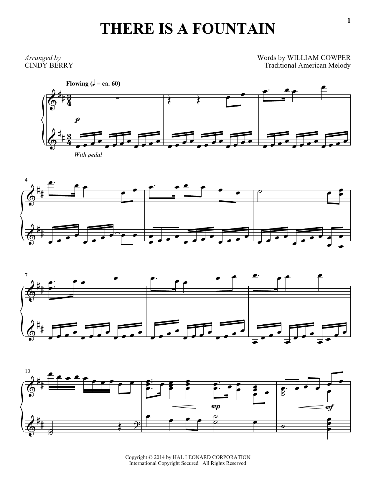 Partition piano There Is A Fountain de Cindy Berry - Piano Solo