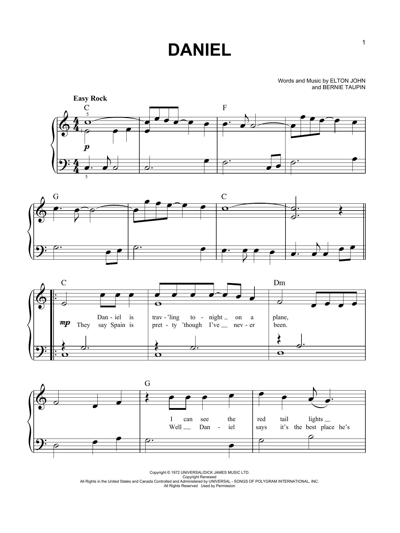 Partition piano Daniel de Elton John - Piano Facile