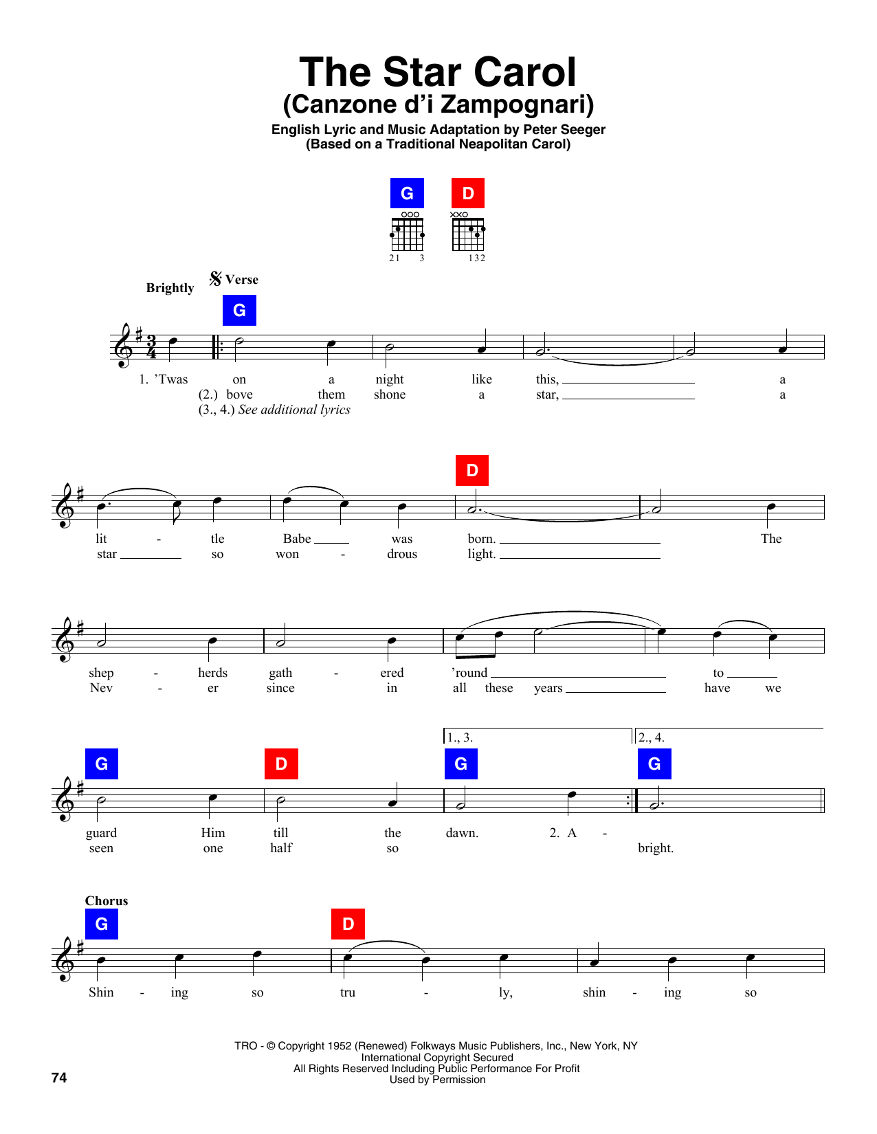 Partition autre The Star Carol (Canzone D'i Zampognari) de Peter Seeger - Autre