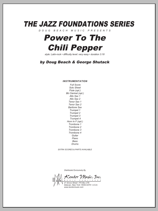 Power To The Chili Pepper (COMPLETE) sheet music for jazz band by Doug Beach & George Shutack