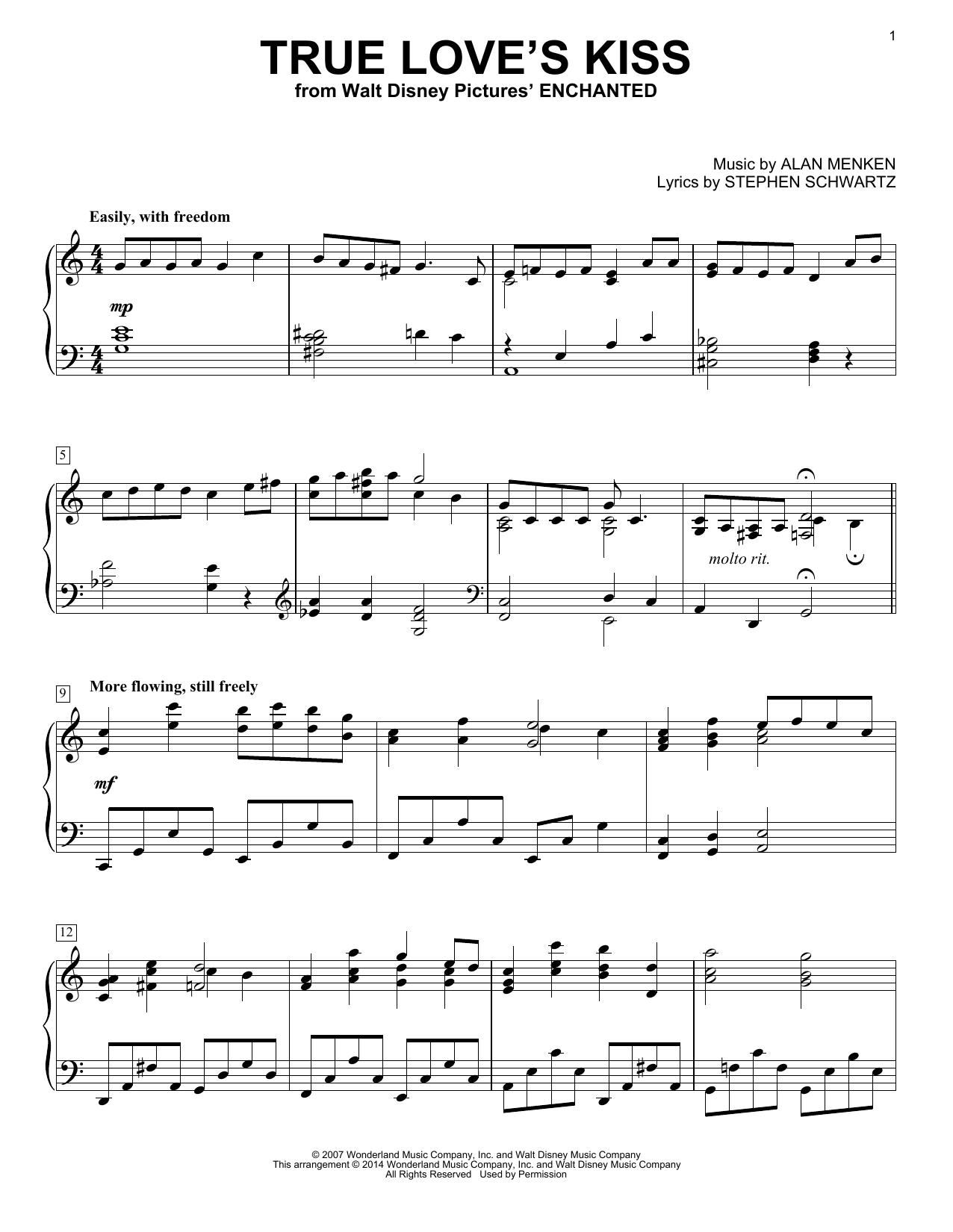 Partition piano True Love's Kiss (from Enchanted) de Alan Menken - Piano Solo