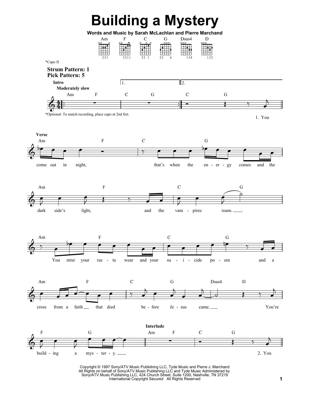 Tablature guitare Building A Mystery de Sarah McLachlan - Tablature guitare facile