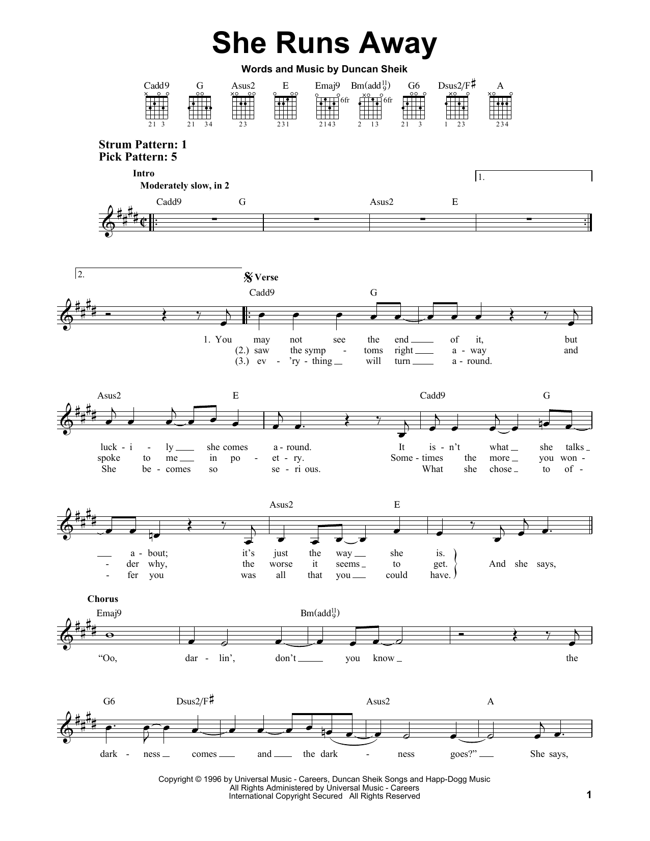 Tablature guitare She Runs Away de Duncan Sheik - Tablature guitare facile
