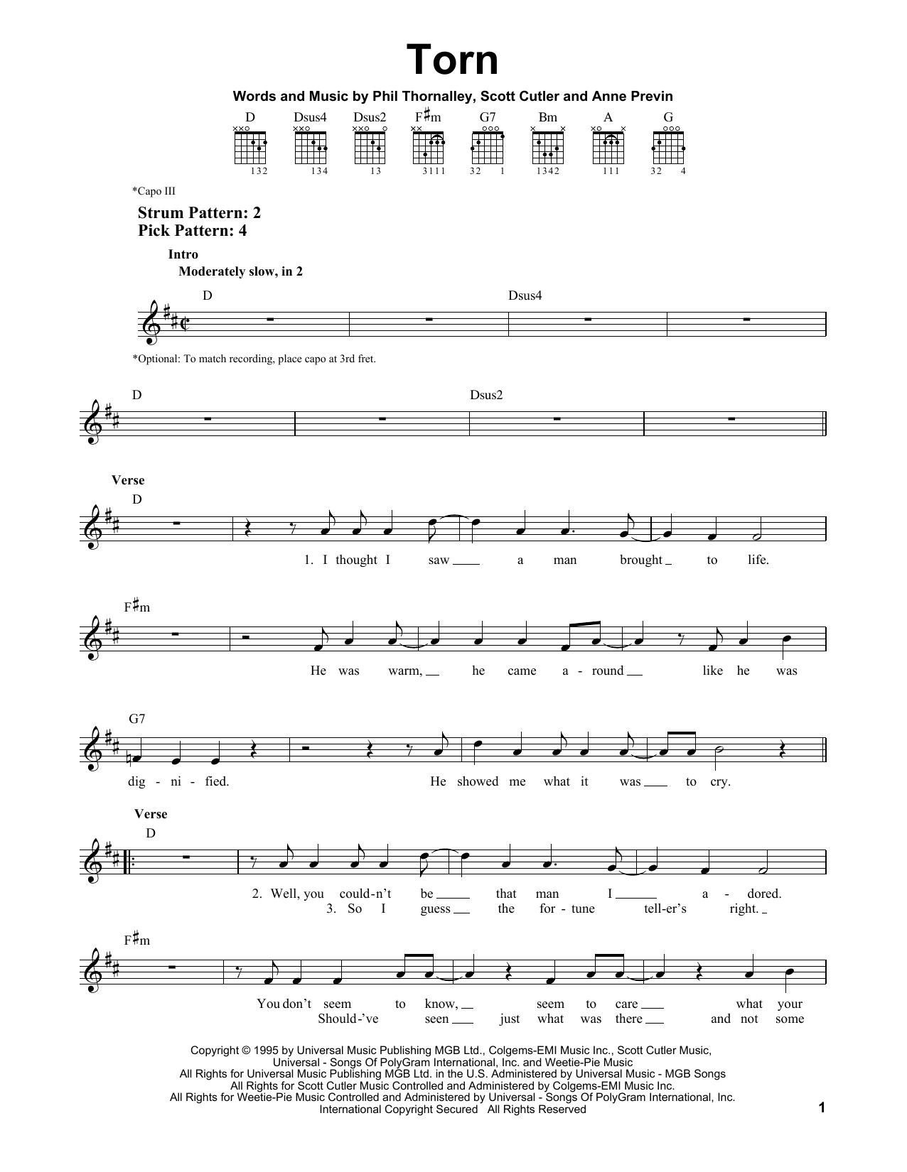 Tablature guitare Torn de Natalie Imbruglia - Tablature guitare facile