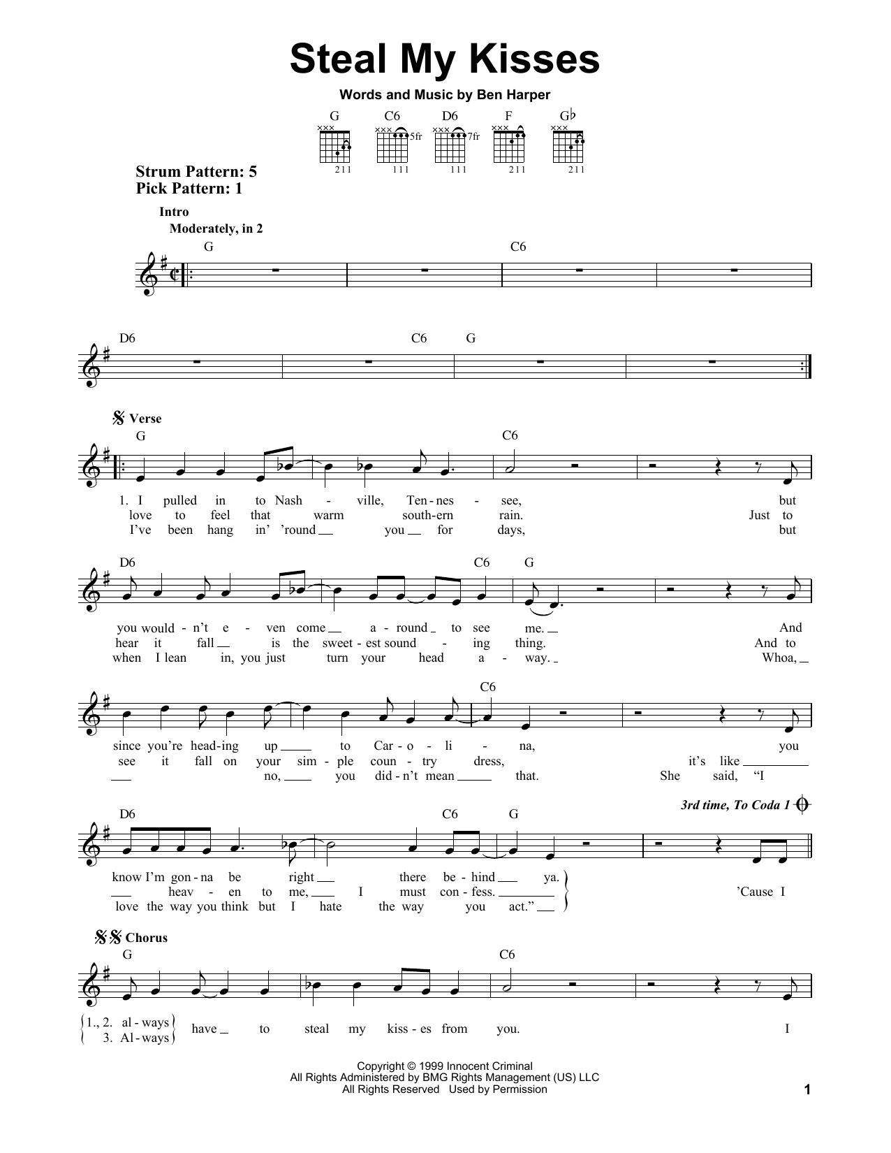 Tablature guitare Steal My Kisses de Ben Harper And The Innocent Criminals - Tablature guitare facile