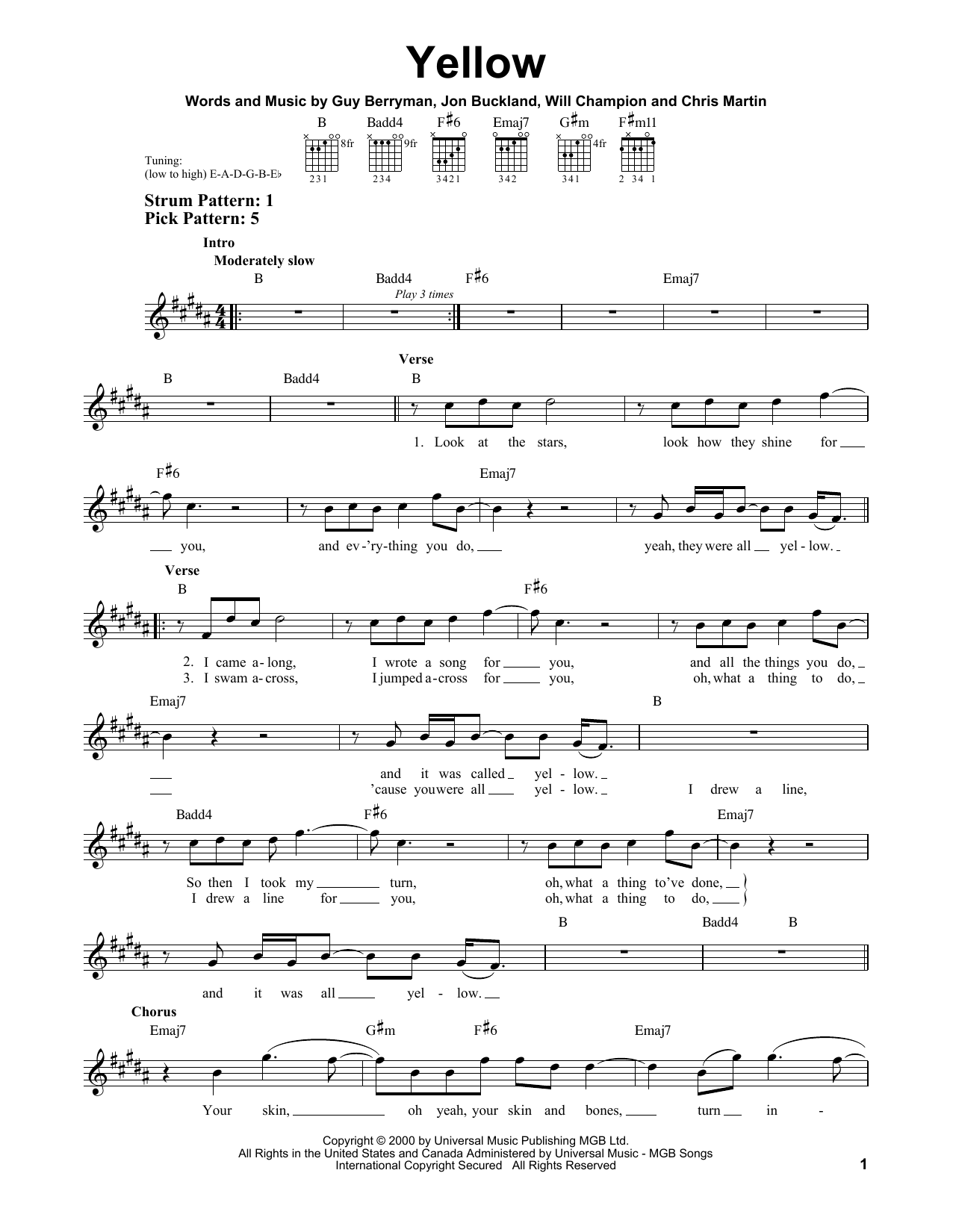 Yellow : Sheet Music Direct