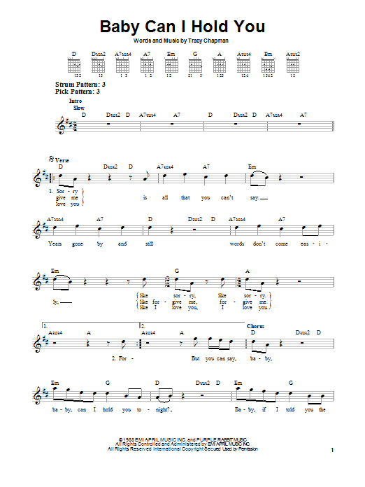 Tablature guitare Baby Can I Hold You de Tracy Chapman - Tablature guitare facile