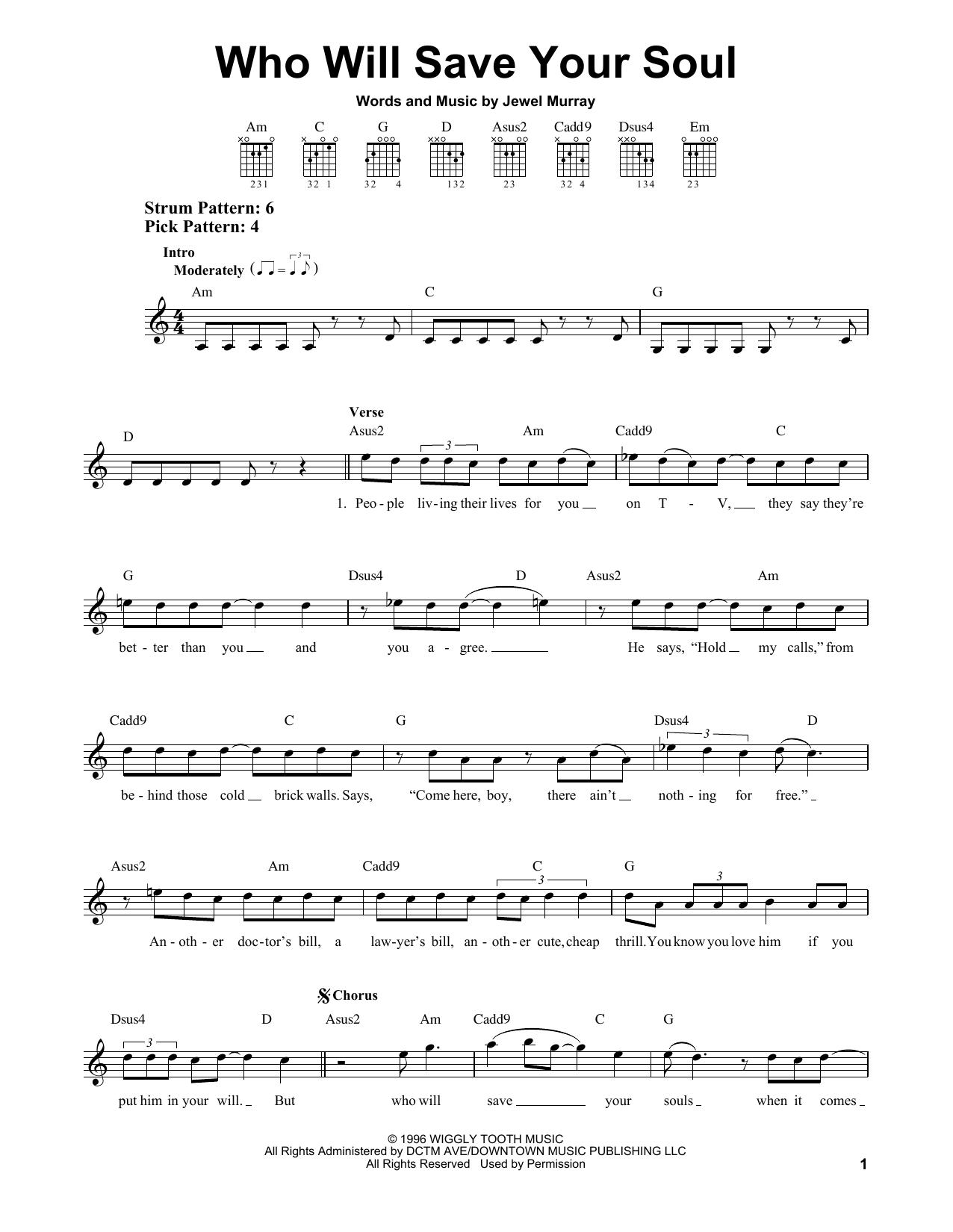 Tablature guitare Who Will Save Your Soul de Jewel - Tablature guitare facile