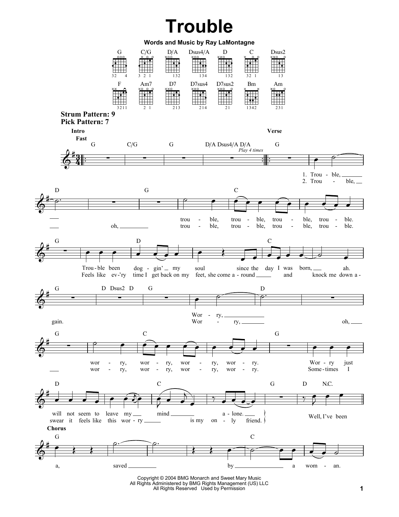 Tablature guitare Trouble de Ray LaMontagne - Tablature guitare facile