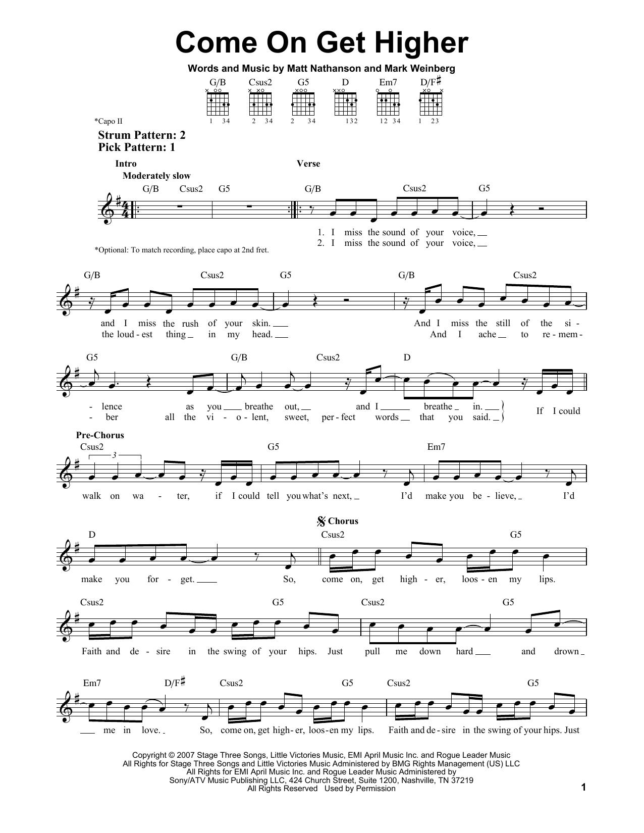Tablature guitare Come On Get Higher de Matt Nathanson - Tablature guitare facile