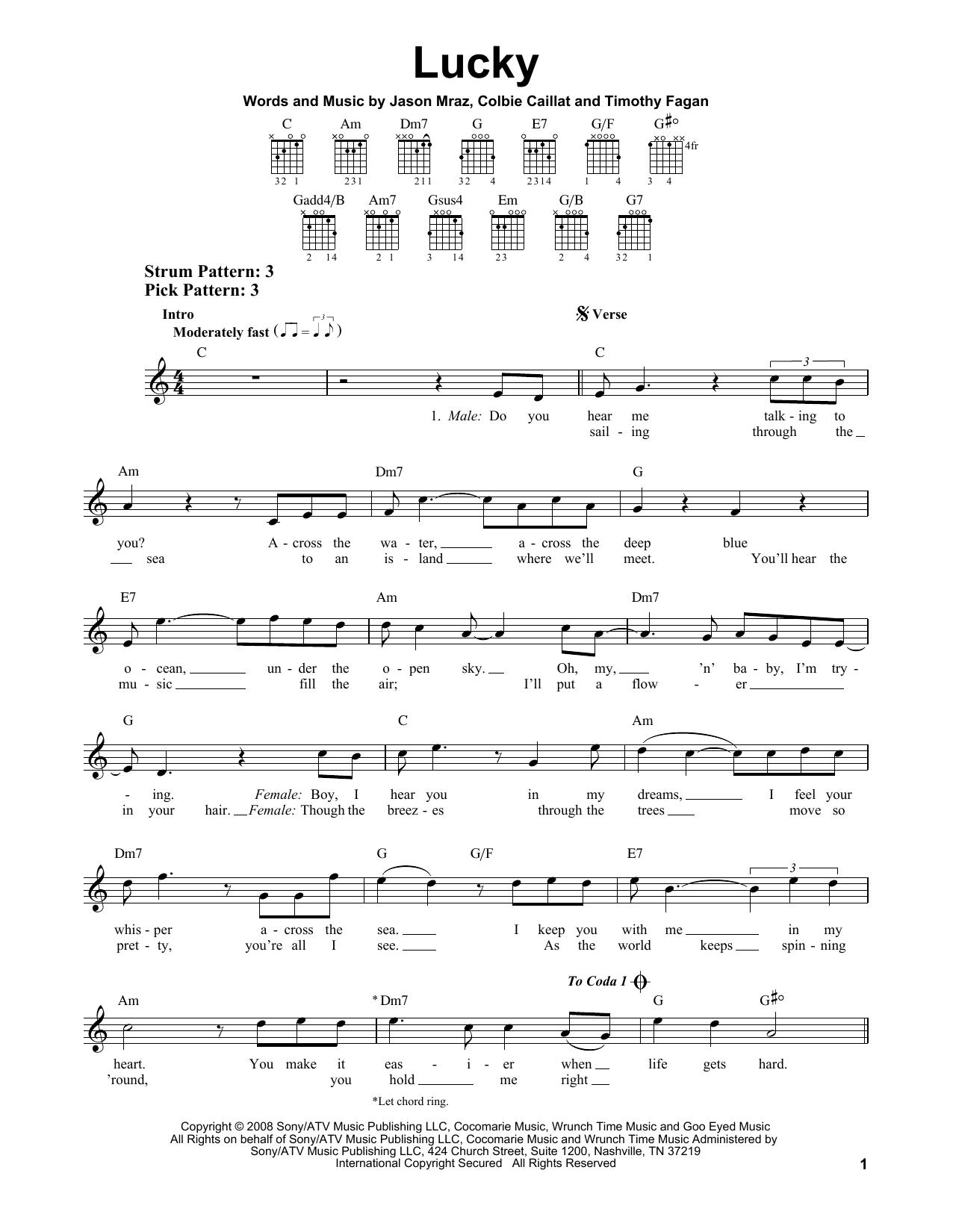 Tablature guitare Lucky de Jason Mraz & Colbie Caillat - Tablature guitare facile