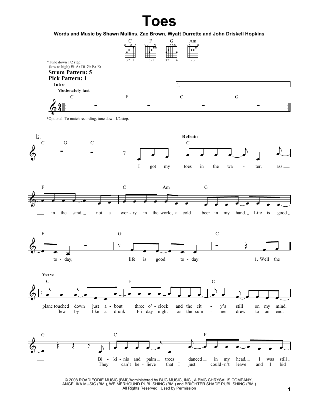 Toes sheet music by Zac Brown Band (Easy Guitar u2013 156135)