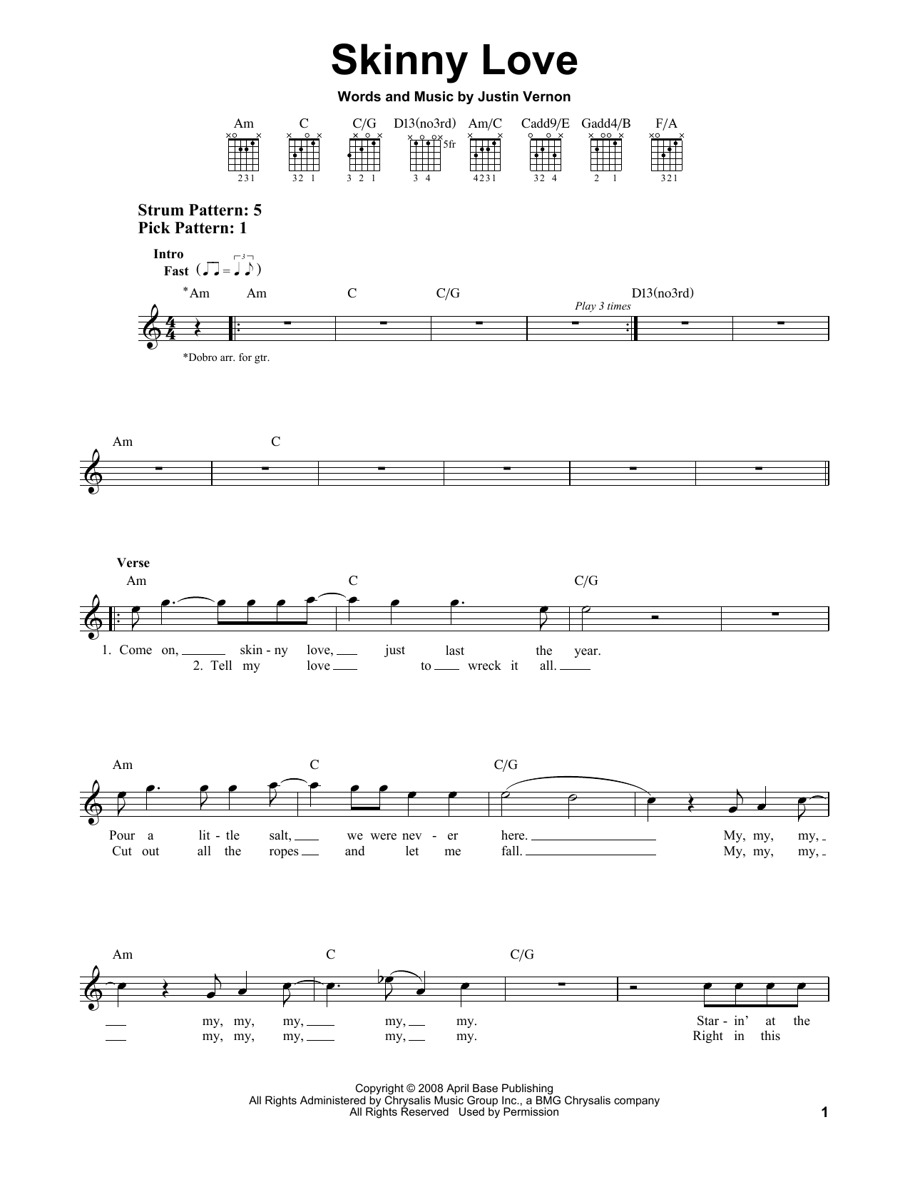 Tablature guitare Skinny Love de Bon Iver - Tablature guitare facile