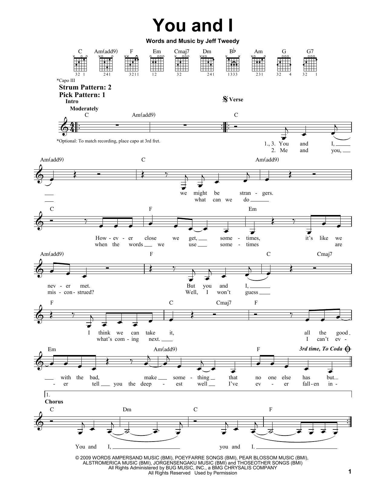 Tablature guitare You And I de Wilco - Tablature guitare facile