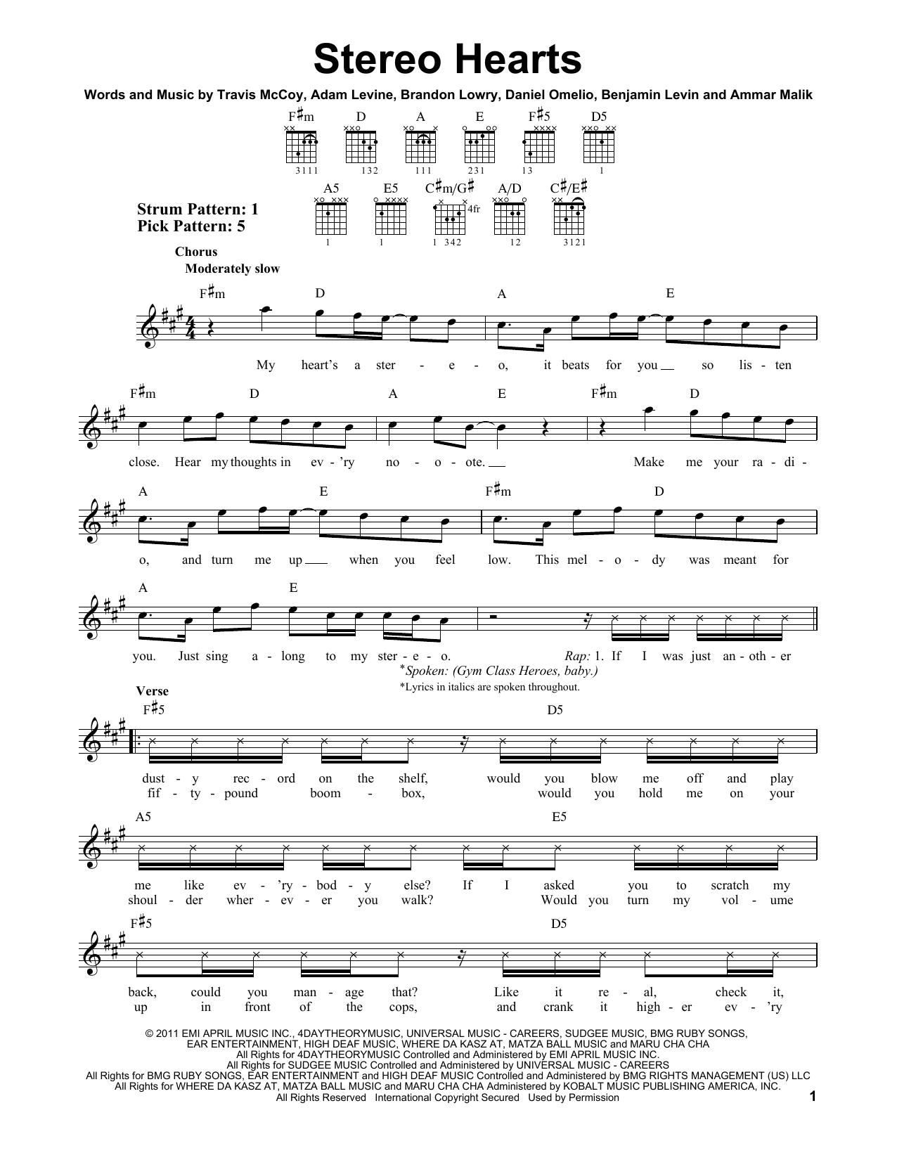 Tablature guitare Stereo Hearts (feat. Adam Levine) de Gym Class Heroes - Tablature guitare facile