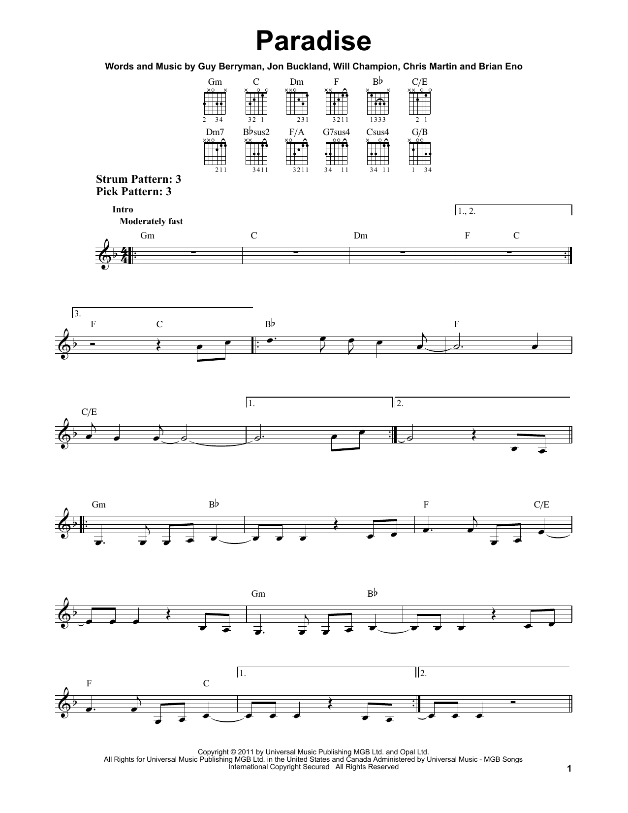 Tablature guitare Paradise de Coldplay - Tablature guitare facile