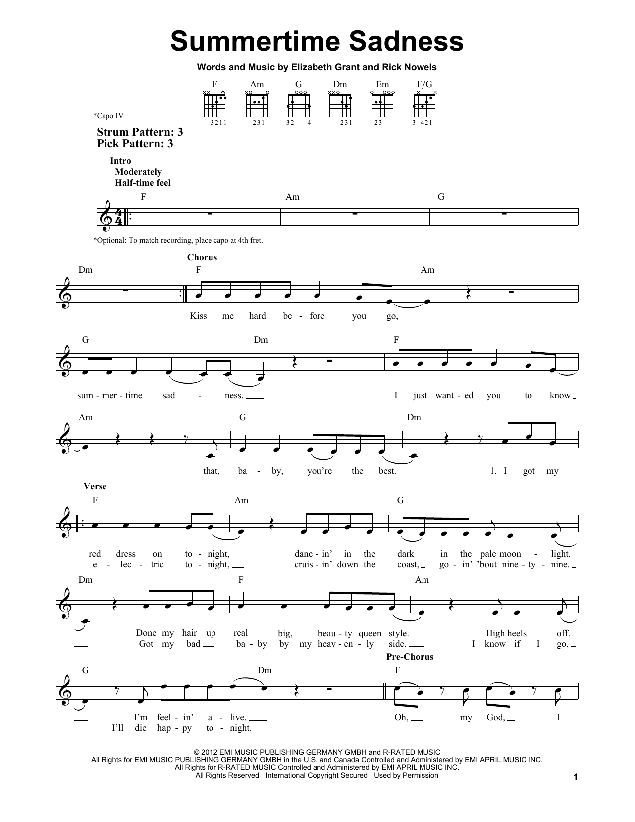 Tablature guitare Summertime Sadness de Lana Del Rey - Tablature guitare facile