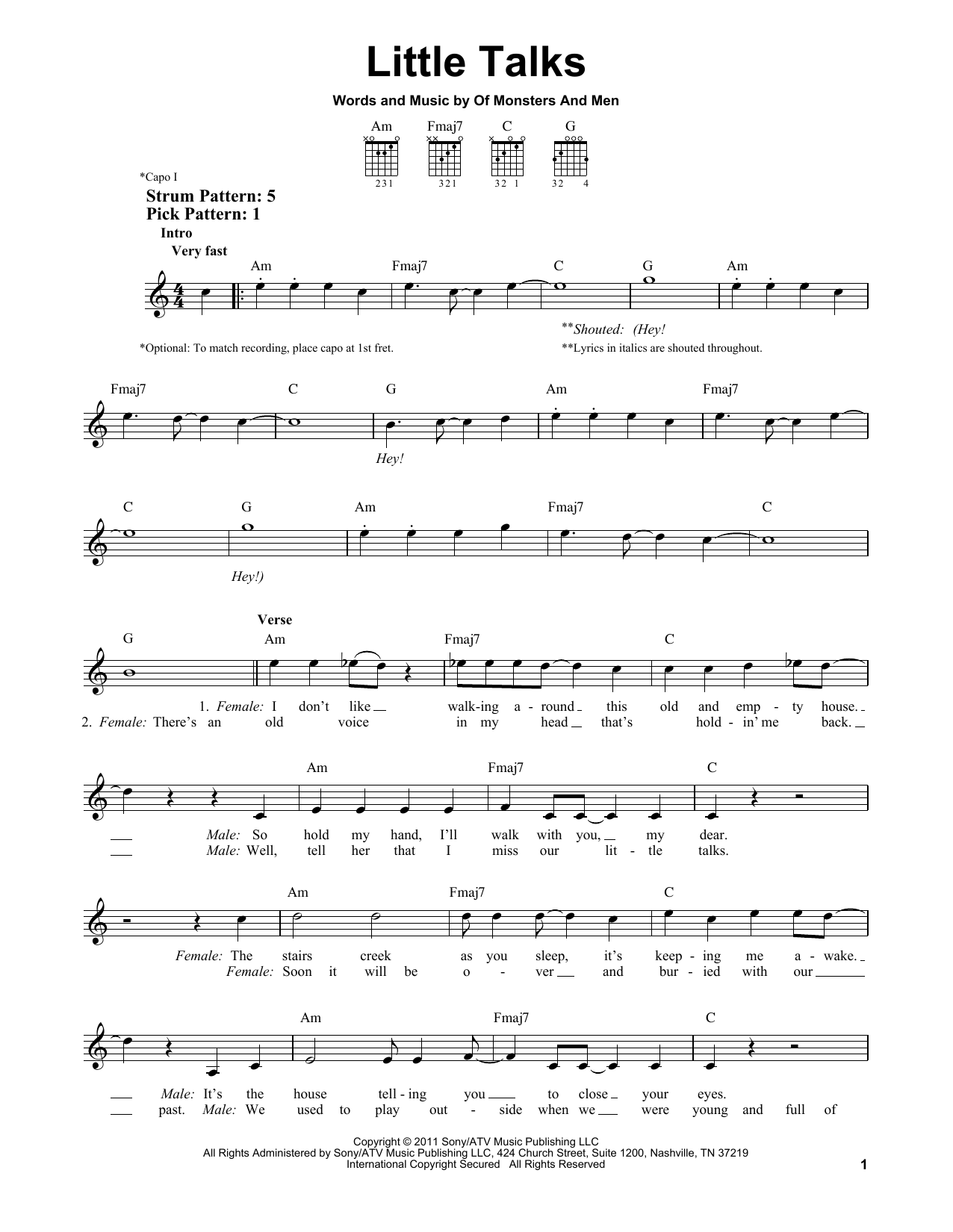Tablature guitare Little Talks de Of Monsters And Men - Tablature guitare facile