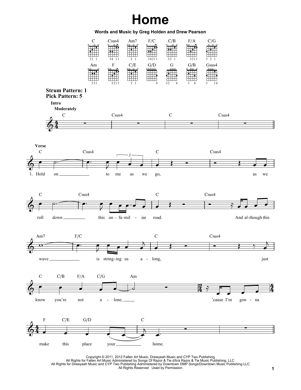 Tablature guitare Home de Phillip Phillips - Tablature guitare facile