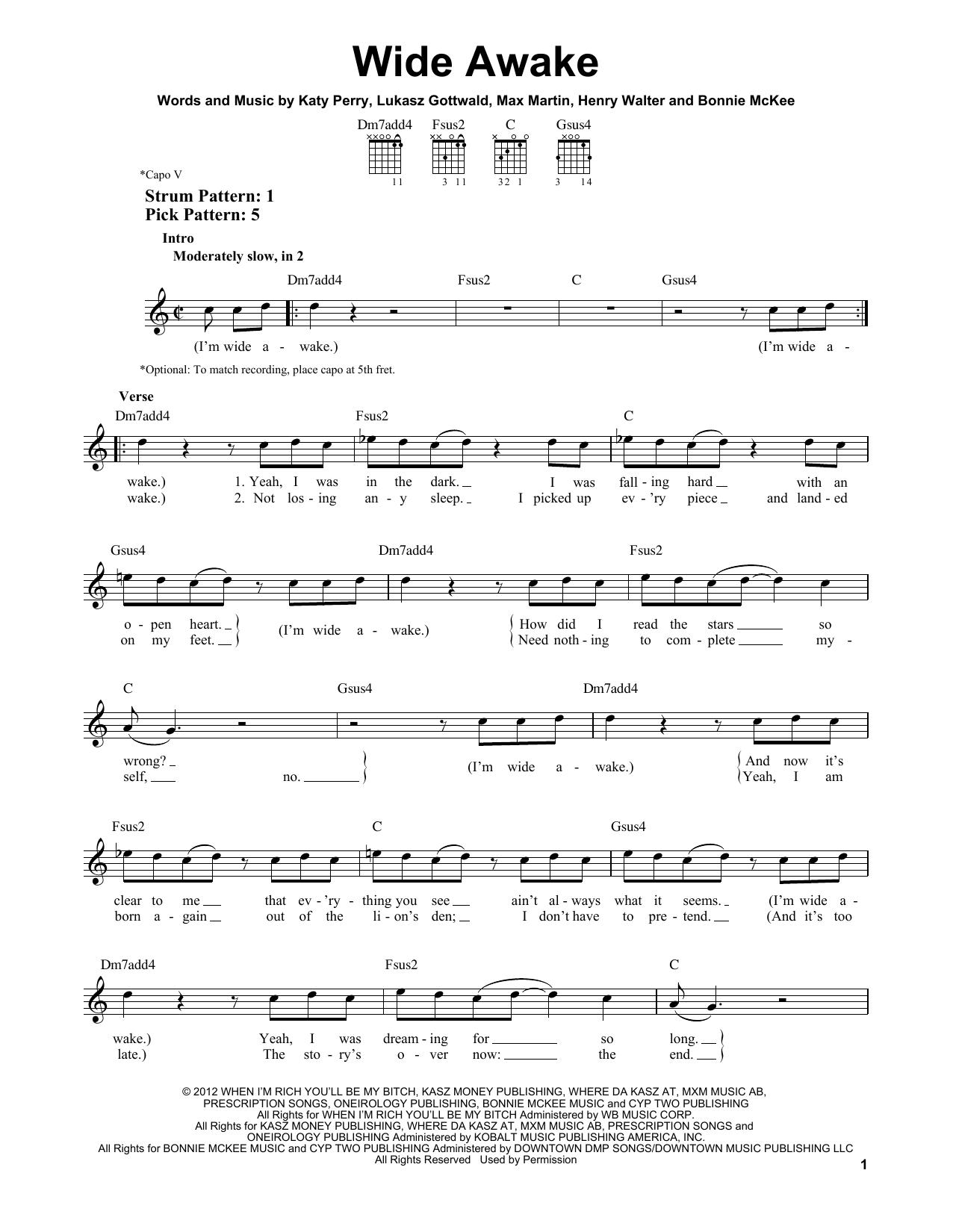 Tablature guitare Wide Awake de Katy Perry - Tablature guitare facile