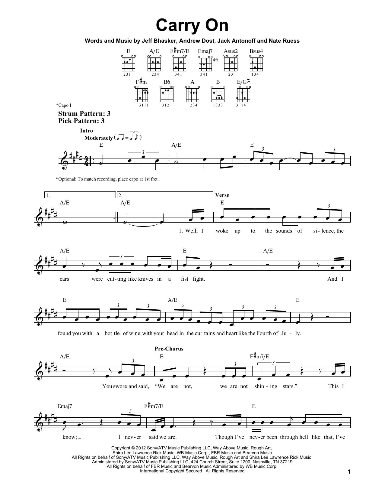 Tablature guitare Carry On de fun. - Tablature guitare facile