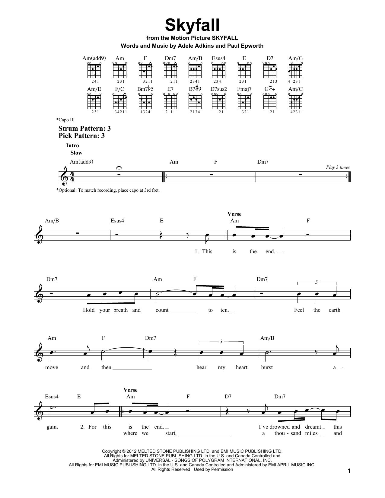 Tablature guitare Skyfall de Adele - Tablature guitare facile