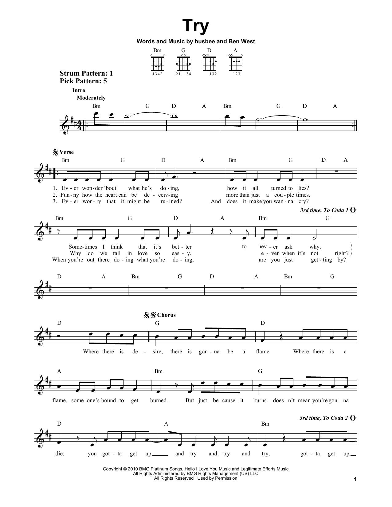Tablature guitare Try de Pink - Tablature guitare facile