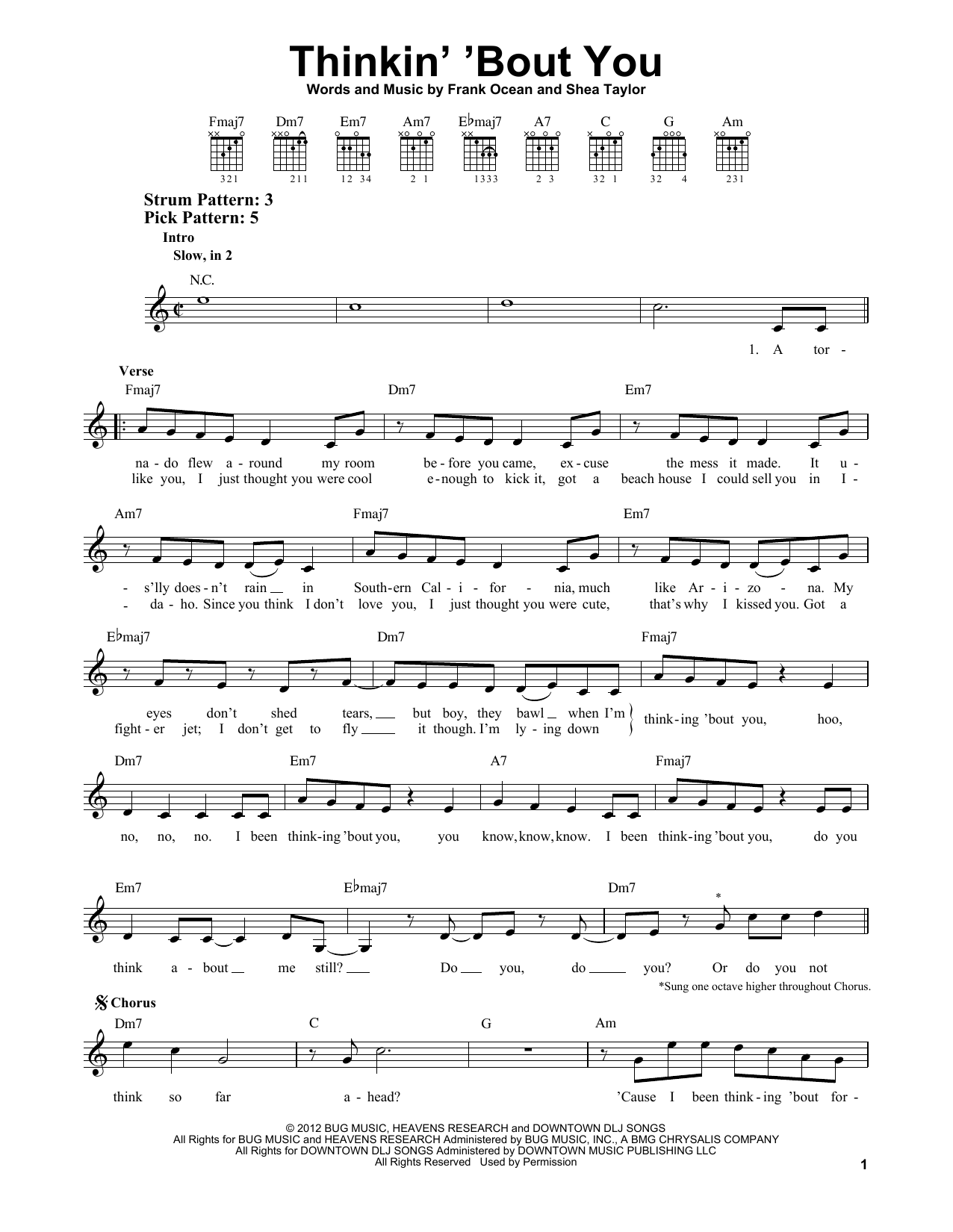 Tablature guitare Thinkin' 'Bout You de Frank Ocean - Tablature guitare facile