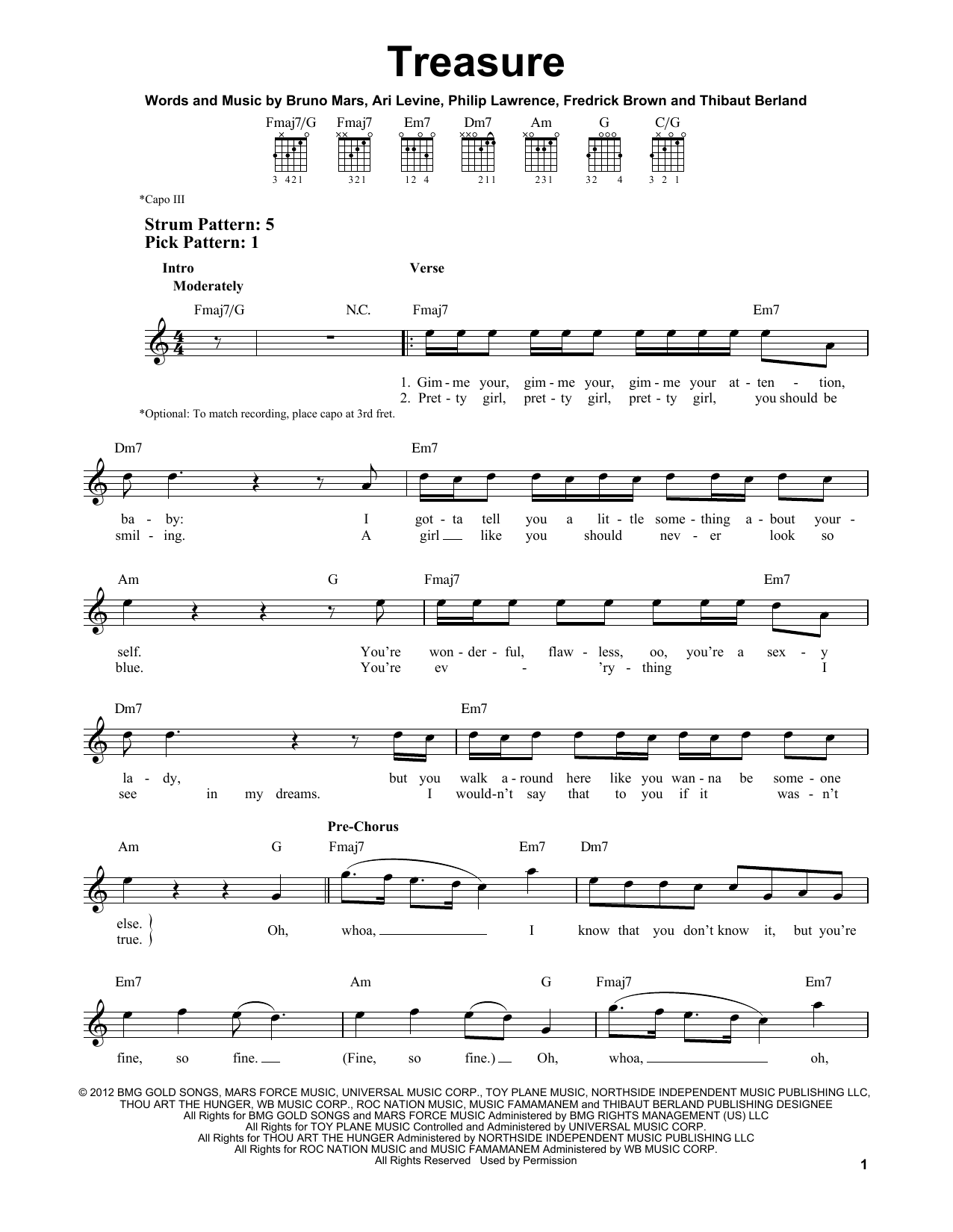 Tablature guitare Treasure de Bruno Mars - Tablature guitare facile