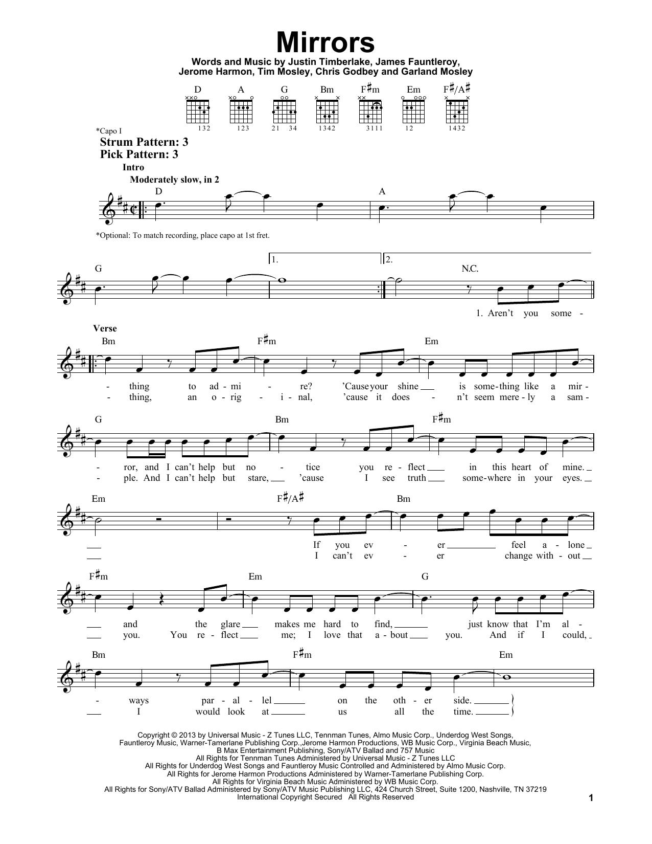Tablature guitare Mirrors de Justin Timberlake - Tablature guitare facile